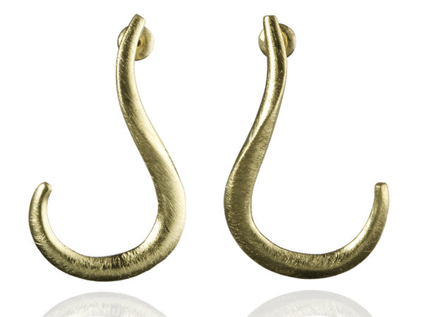 18K Gold Plated Brushed Twisted Swirl Earrings