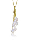 18K Gold Plated Uva Milano Lariat White Moonstone
