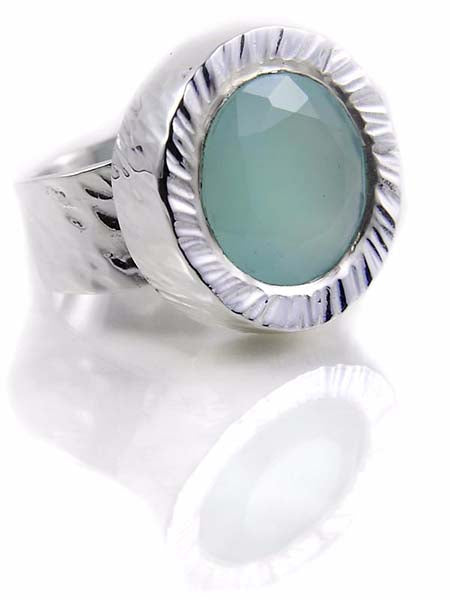 Battered Stone Circle Cocktail Ring Aqua Chalcedony