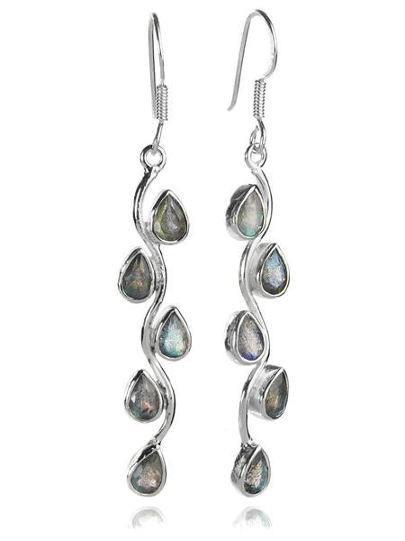 Vertical Stone Leaf Drop Earrings Labradorite