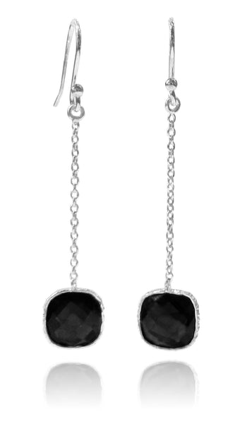 Milano Long Cushion Earrings Black Onyx
