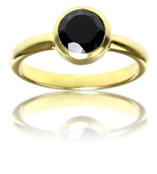 18K Gold Plated Stackable Jaipuri Circle Ring Black Onyx