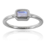 Iceland Rectangle Stacking Ring White Moonstone