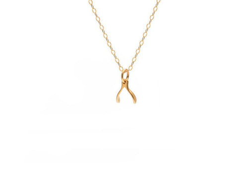 This necklace features a mini wishbone charm hanging from a delicate gold chain. A very simple and chic necklace that looks amazing on! Details:  24kt gold vermeil charm 14kt gold filled charm + clasp 17 inches long