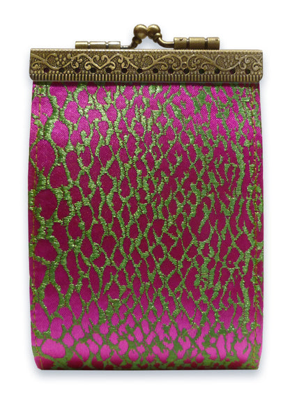 Card Holder Green and Hot Pink