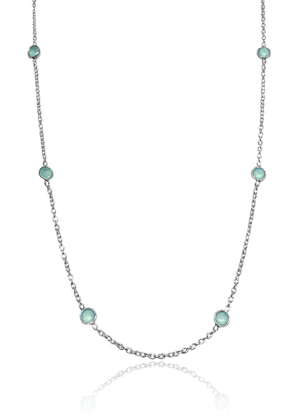 Tiny Kathak 8 Stone Necklace Aqua Chalcedony