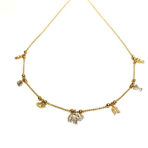 14k Gold Lucky Charm Necklace