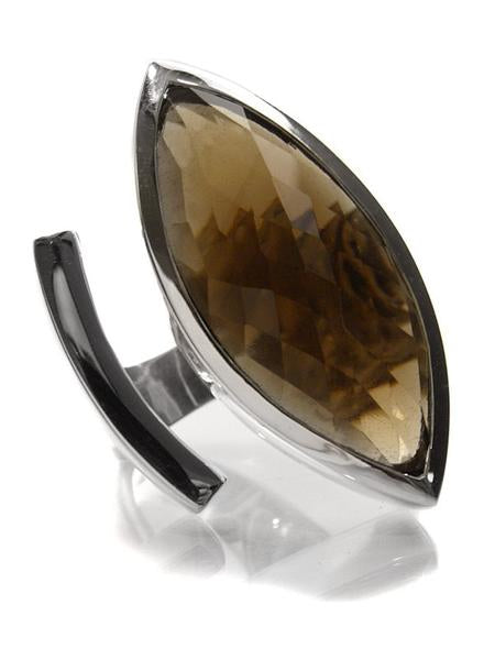Large Cocktail Marquee Ring Smokey Quartz