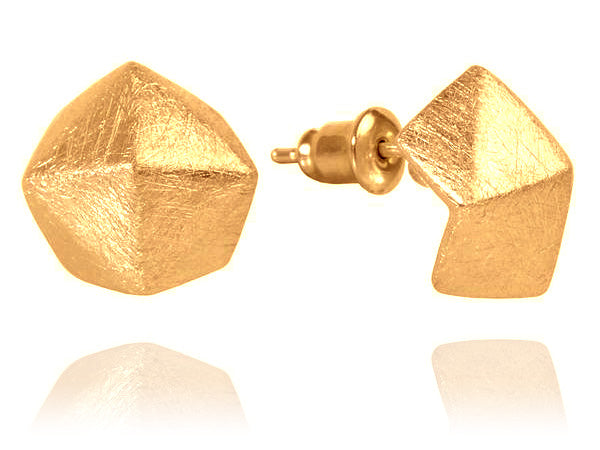 18K Gold Plated Bilbao Structured Stud