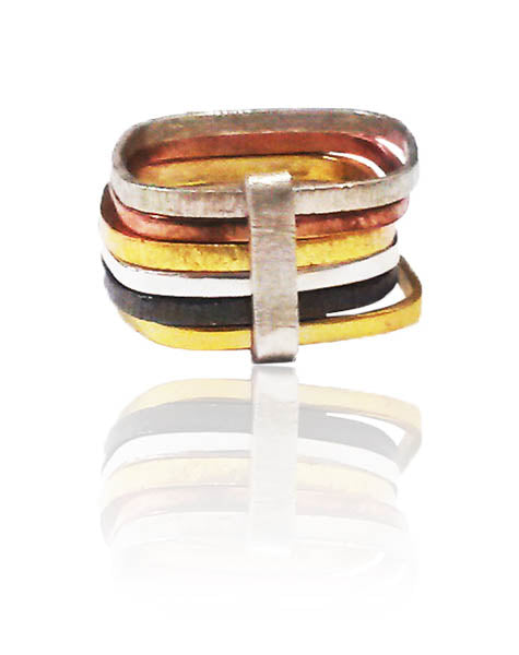 Six Multi Habimah Square Stacked Ring