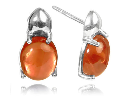 Large Khepri Scarab Beetle Stone Earrings - Carnelian