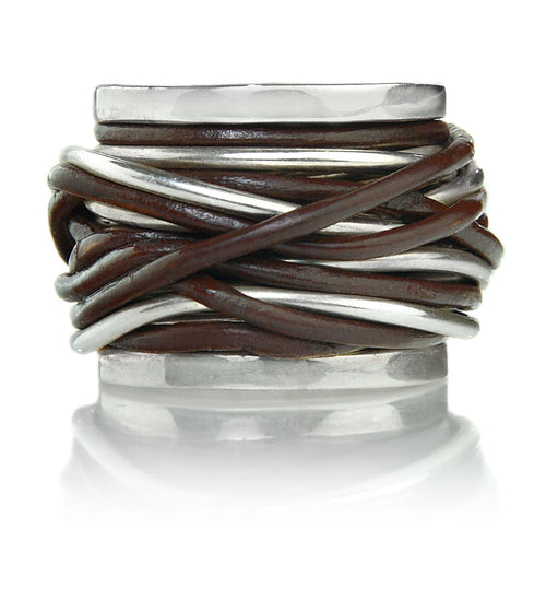 Brown Leather Twist Ring