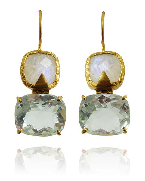 Hinged Double Square Earrings White Moonstone and Green Amethyst
