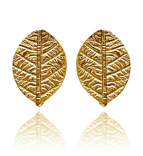 Gold Plated Leaf Stud Earrings