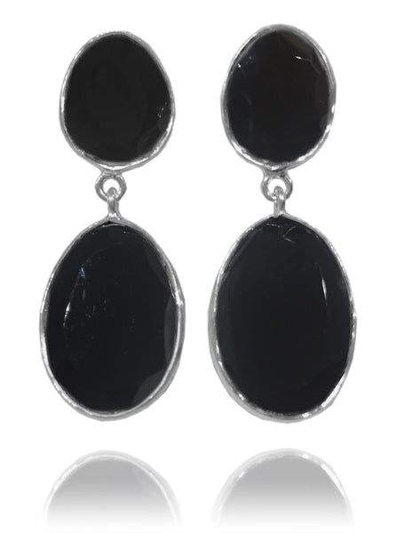 Large River Rock Earrings Black Onyx