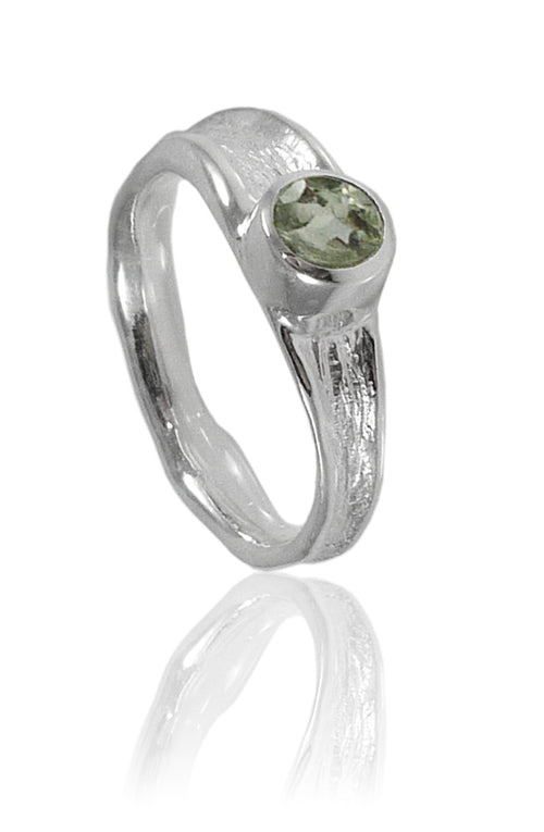 Thin Amazon River Ring with Stone Green Amethyst