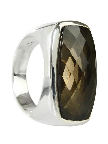 Rectangular Faceted Cut Stone Ring Smokey Quartz