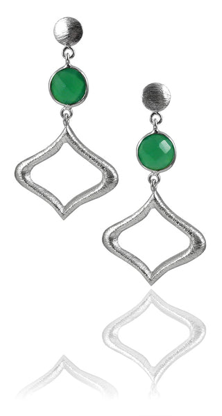 Arabesque Outline with Stone Earring Green Onyx