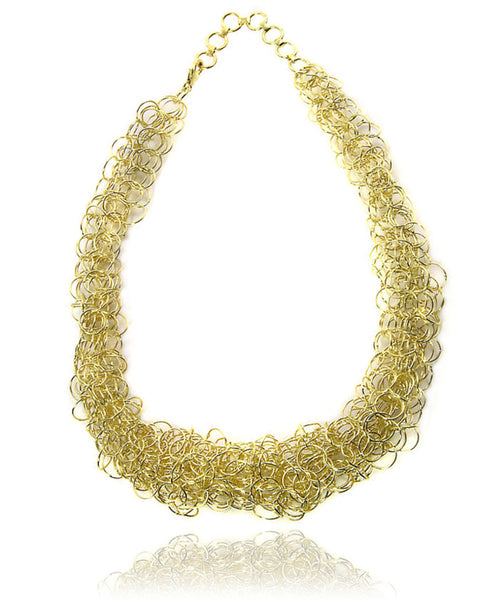 18K Gold Plated Mesh Link Necklace