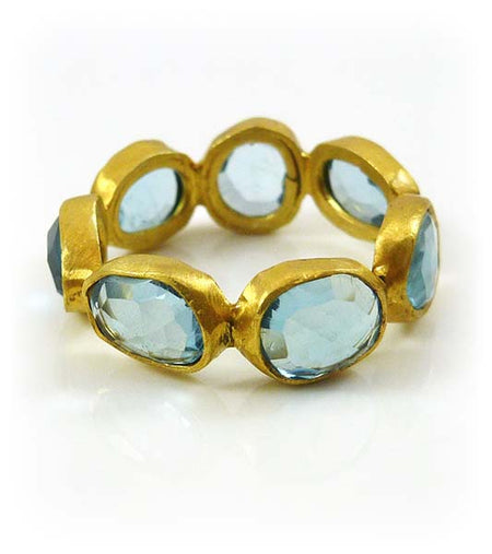 Small Serpentine Open Stone Ring Blue Topaz