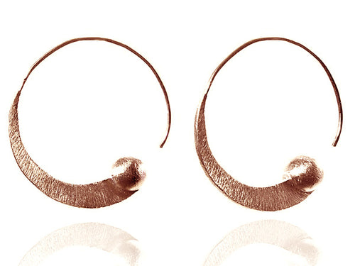 Rose Gold Plated Brushed Mini Swirly with Silver Ball Earrings