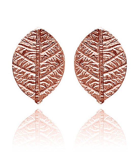 Rose Gold Plated Leaf Stud Earrings