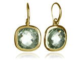 18K Gold Plated Framed Rounded Square Classic Earrings Green Amethyst