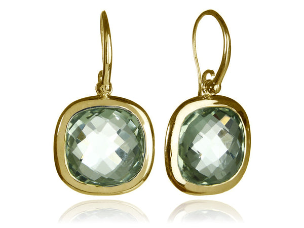 18K Vermeil Framed Rounded Square Classic Earrings Green Amethyst