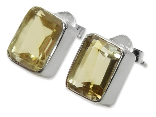 Small Square Gemstone Studs Citrine