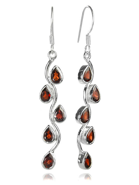 Vertical Stone Leaf Drop Earrings Garnet