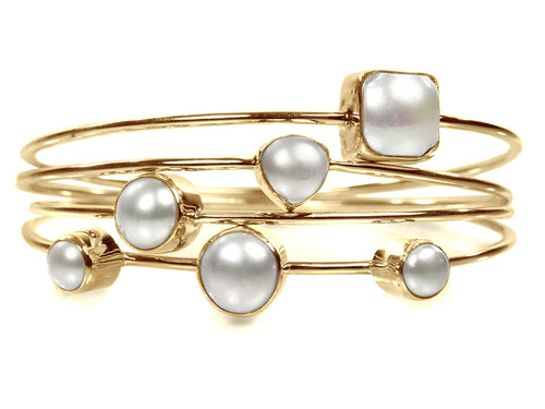 18k Gold Plated Four Stacked Jaipuri Stone Bangles White Pearl