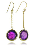 18K Vermeil Jaipuri Beaded circle Quartz Drop-Amethyst
