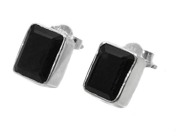 Small Square Gemstone Studs Black Onyx