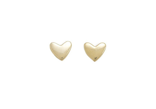 This adorable pair of heart stud earrings are the perfect accessory to wear everyday! Shiny gold finish. Details:  14kt gold vermeil Shiny gold finish Hearts are 7mm Matching gold earring backs included