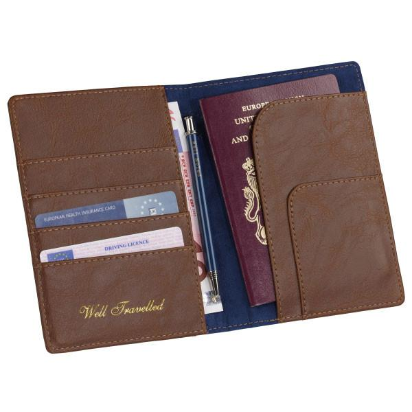 Ted Baker Mens Brogue Passport Travel Wallet & Pen
