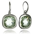 Framed Rounded Square Classic Earrings Green Amethyst