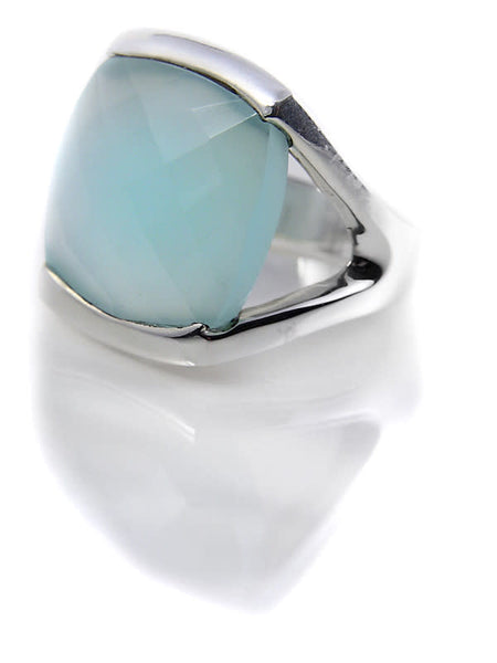 Square Open Sided Cocktail Ring Aqua Chalcedony