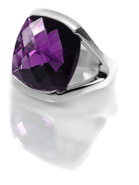 Square Open Sided Cocktail Ring Amethyst