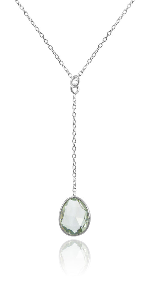 River Rock Y Necklace Green Amethyst