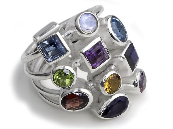 10 Stone Tic-Tac-Toe Ring