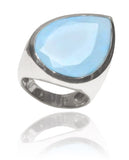 Modern Paisley Cocktail Ring Blue Chalcedony 7
