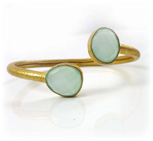 Two Stone River Rock Cuff Aqua Chalcedony