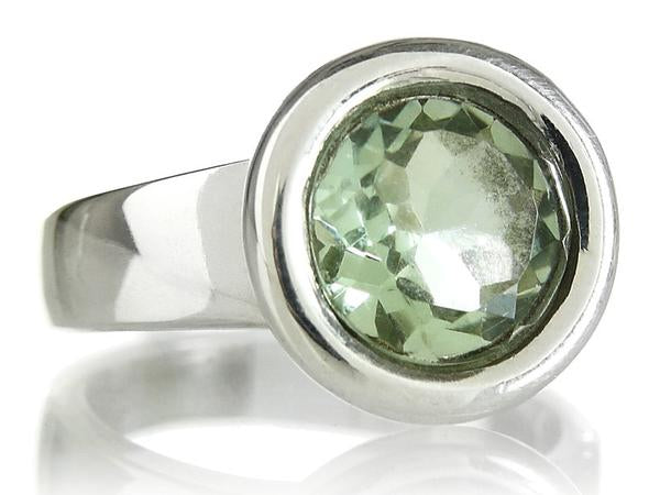 Gaudi Circle Classic Stone Ring Green Amethyst