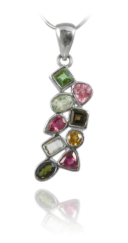 9 Stone Cluster Pendant Mixed Tourmaline