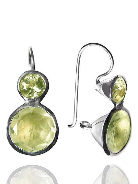 Large Jaipuri Two Stone Drop Earrings Lemon Topaz