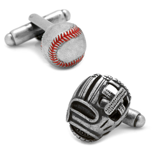 3D Baseball and Glove Antique Silver Cufflinks
