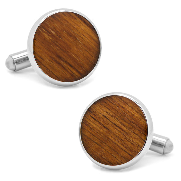 Stainless Steel and Wood Cufflinks