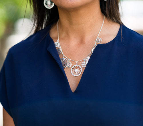 Brushed Nine Arabesque Cut Out Necklace