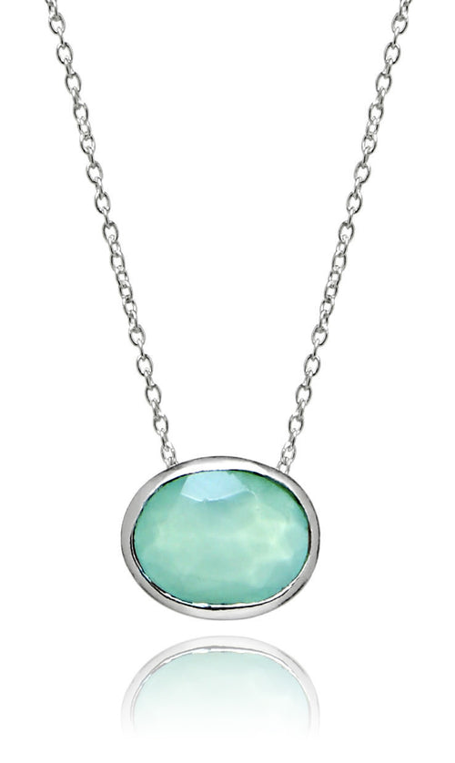 Floating Oval Pietra Necklace Aqua Chalcedony