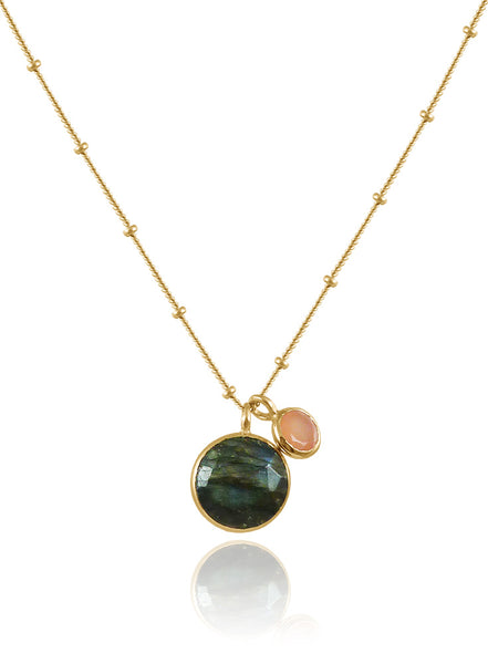 Bilbao Two Stone Necklace Labradorite and Peach Chalcedony